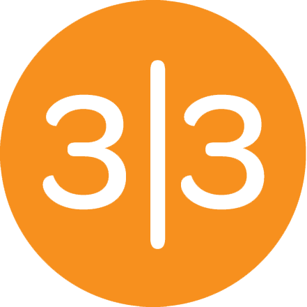 33 Sticks Logo- Orange Circle with 3|3 in it